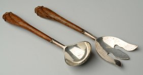 Pair Of Mexican Sterling Salad Servers.