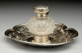 English Silver And Glass Inkwell.
