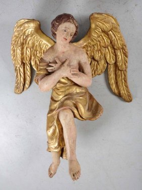 18th Century Carved Polychrome Wooden Angel.