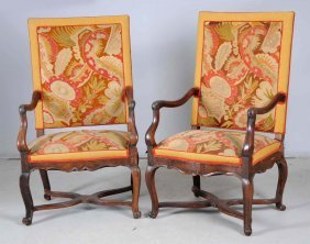Pair Of Armchairs With Needlepoint Upholstery.
