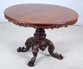 Carved Victorian Rosewood Center Table.