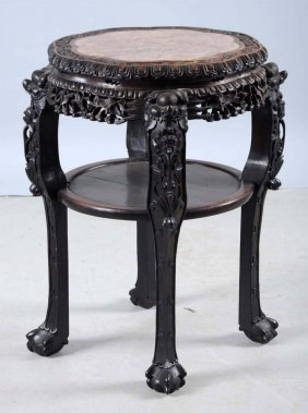 Hardwood Chinese Marble Top Table.