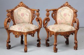 Pair Of Continental Carved Corner Chairs.