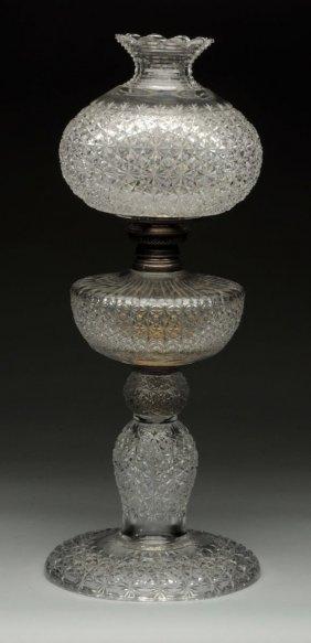 Monumental American Cut Glass Oil Lamp.
