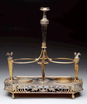 Silver Plate Condiment Stand.
