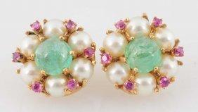 Emerald, Ruby, Pearl & 14k Earrings.