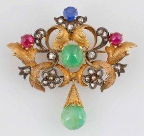 14k, Emerald, Ruby, Sapphire & Diamond Brooch.