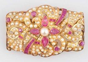 14k Gold Ruby & Pearl Brooch.