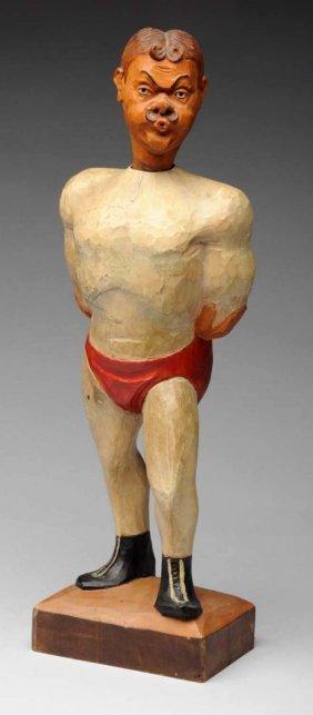 Carved Wood Whistler Wrestler.