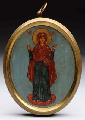 Hand Painted Russian Icon.