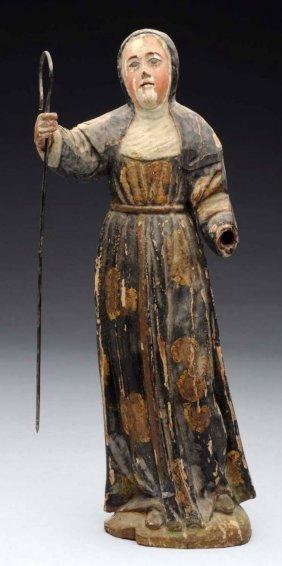 18th Century Carved Shepherdess.