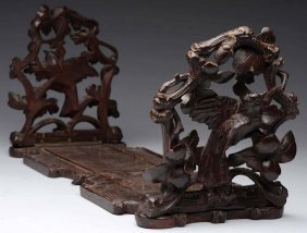 Carved Wooden Black Forest Bookends.