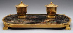 19th Century. French Bronze Cloisonne Ink Stand.