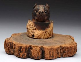 Carved Wooden Dog Inkwell.