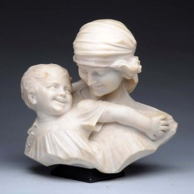 Alabaster Sculpture Of Mother & Child.