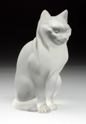French Lalique Glass Cat Figurine.