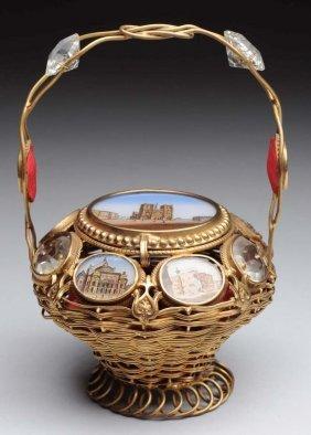 Reverse Painted Miniature Bronze Basket.