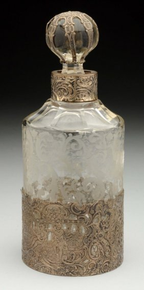 A Silver Mounted Perfume Bottle.