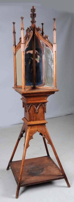 Gothic 19th Century Carved Oak Display Stand.