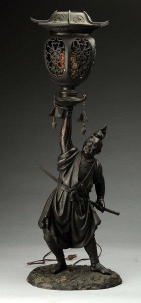 Japanese Bronze Samurai Warrior Figural Lamp.
