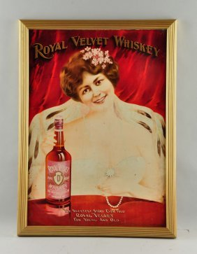 Royal Velvet Whiskey Tin Litho Advertising Sign.