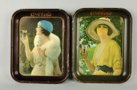 Lot Of 2: 1920 & 1925 Coca-cola Serving Trays.