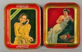 Lot Of 2: 1936 & 1930 Coca-cola Serving Trays.