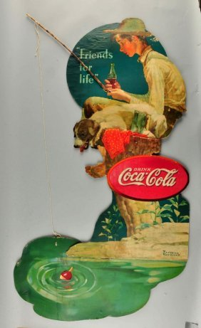 Large Coca-cola Diecut Sign By Norman Rockwell.