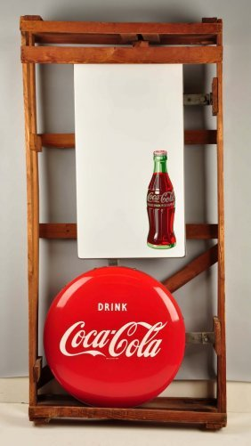 Coca-cola Double Sided Porcelain Button Sign.