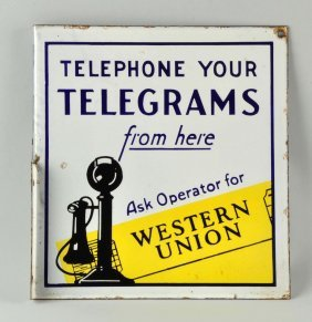 """Advertising Porcelain Sign """"western Union""""."""