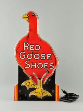 Red Goose Shoes Porcelain Neon Sign.