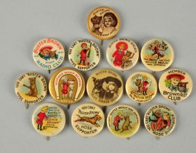 Lot Of 14: Buster Brown Celluloid Pinbacks.