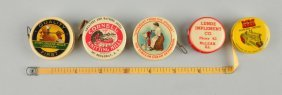 Lot Of 5: Celluloid Advertising Tape Measures.