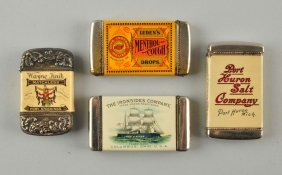 Lot Of 4: Celluloid Advertising Match Safes.