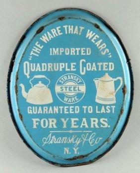 Stransky Steel Ware Porcelain Double Sided Sign.