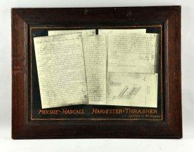 Moore-hascell Harvester Thrasher Framed Documents.
