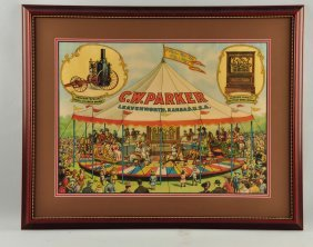 C.w. Parker Carousel Advertising Paper Sign.