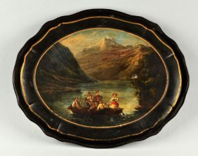 Early Painting On A Serving Tray.