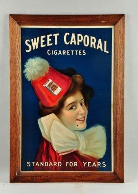Sweet Caporal Cigarettes Cardboard Sign.