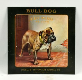 Bull Dog Cut Plug Tobacco Sign.