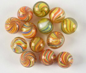 Lot Of 13: Joseph's Coat Marbles.