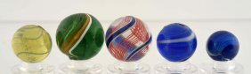Lot Of 5: Swirl Marbles.