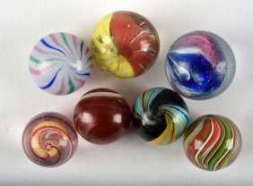 Lot Of 7: Handmade Marbles.
