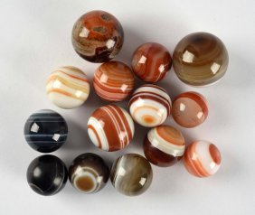 Lot Of 14: Hand Faceted Agate Marbles.