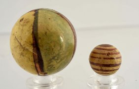 Lot Of 2: Early Painted Yellowware Marble.