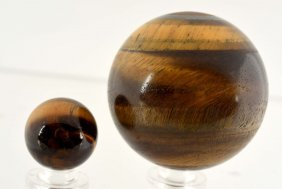 Lot Of 2: Early Tiger Eye Marbles.