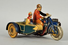 German Tin Litho Tippco Motorcycle With Side Car.