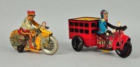Lot Of 2: Marx Tin Litho Wind Up Motorcycles.