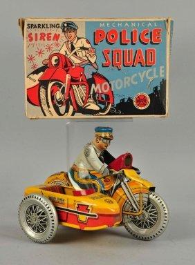Marx Tin Litho Wind Up Police Squad Motorcycle