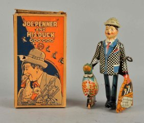 Marx Tin Litho Wind-up Toy Joe Penner & His Duck.